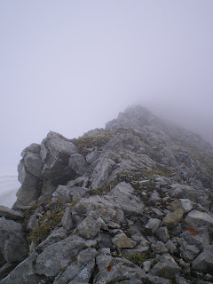 a very foggy ascent of Grotto Mountain