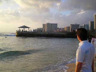 Standing on the beach in Honolulu