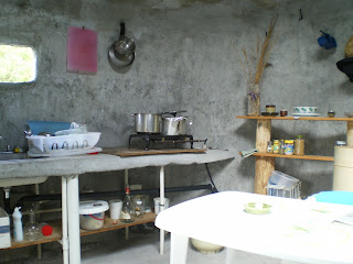 our modest kitchen in our Pahoa yurt