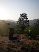 Doing yoga at sunrise in northern Thailand