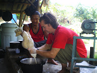 Learning to make tofu from scratch at a natural cooking course in Thailand
