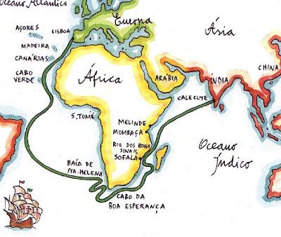 mapa vasco da gama Literatura: O mapa da viagem de Vasco da Gama mapa vasco da gama
