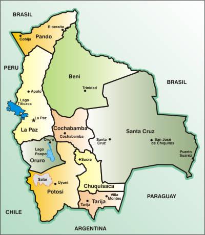 Bolivia: Departamentos, capitales y población por departamento 2012