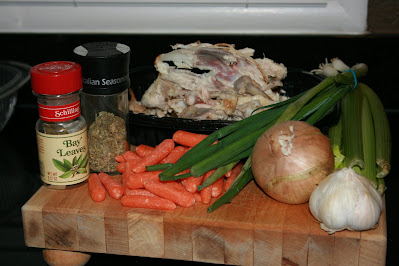 Ingredients needed to make Homemade Chicken Broth or Bone Broth in the CrockPot Slow Cooker or Instant Pot