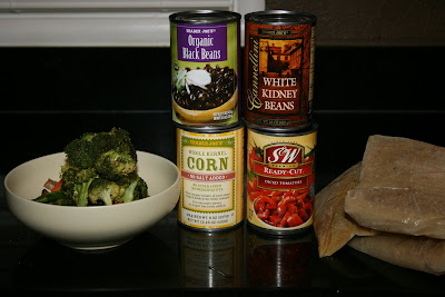 "The base ingredients needed to make ""garbage"" or ""clean out the pantry"" soup in the crockpot slow cooker."