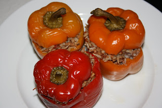 homemade stuffed peppers in the crockpot. easy and delicious.
