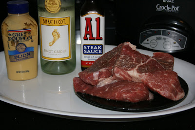 Ingredients for A1 Steak in the Crockpot Slow Cooker.
