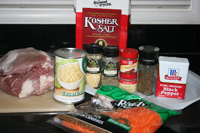 The Ingredients you need to make Pulled Pork with Sauerkraut in the CrockPot Slow Cooker