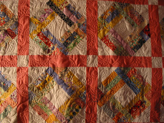 Scrappy 1930s quilt with custom quilting by Angela Huffman - QuiltedJoy.com