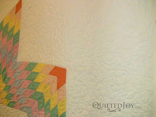 Lone Star Quilt in Pastel with freehand Texas roses, quilted by Angela Huffman
