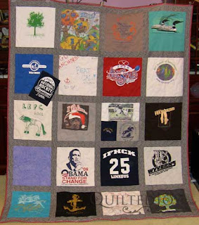 Laura's Graduation T-Shirt Quilt, quilted by Angela Huffman