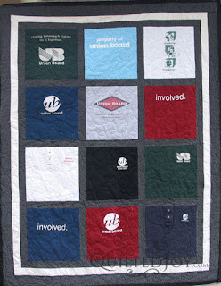 IU Union Board T-Shirt quilt, pieced and quilted by Angela Huffman - QuiltedJoy.com