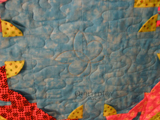 Froggies quilt with 3D elements in the piecing, custom quilting by Angela Huffman - QuiltedJoy.com
