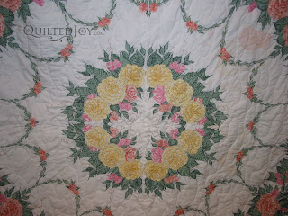 Cross Stitch Quilt with allover meander, quilting by Angela Huffman - QuiltedJoy.com