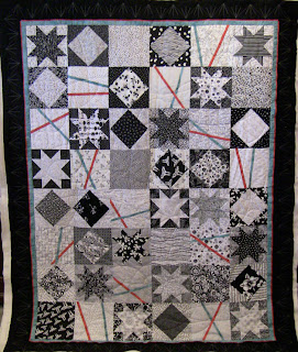 Funky Black and White Modern Quilt, with custom quilting by Angela Huffman - QuiltedJoy.com