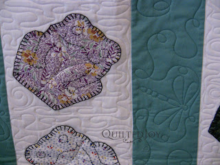 Dragonfly quilted on Frog quilt, custom quilting by Angela Huffman - QuiltedJoy.com