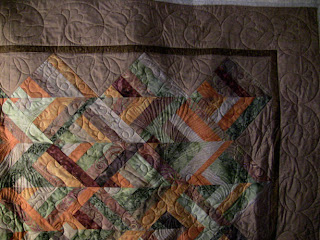 Batik Chevrons with custom quilting by Angela Huffman - QuiltedJoy.com