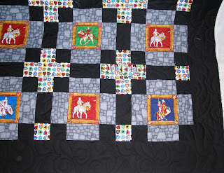 Fun knights and castles quilts, perfect for a grandson! Angela Huffman quilted the Funky Fleur de Lys pantograph - QuiltedJoy.com