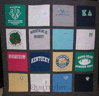 Kathy's college years t-shirt quilt. Pieced and quilted by Angela Huffman - QuiltedJoy.com