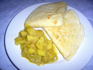 Dosti Roti and Curry Aloo, two in one roti