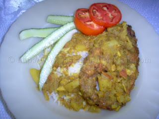Rice and Curry Fish, trini cooking