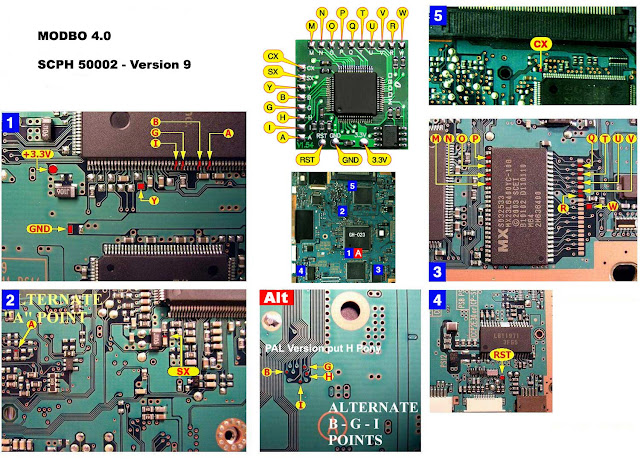 Ps2 Scph 30001: Instalasi Diagram Untuk Modchip Modbo 4.0, Modbo 750