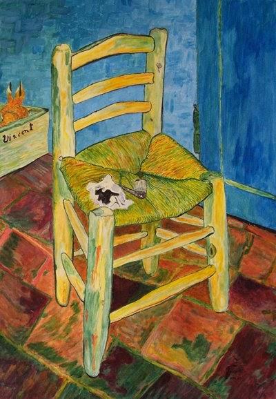 Franco Scarpetti Pittore Impressionista  Falsi dautore La sedia di Vincent  Van Gogh falso