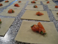 Salmon Filling on Wonton Wrappers