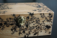Japanese Foliage Woodburned Box by Sixth and Elm