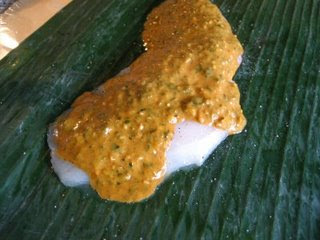 Banana-Wrapped Halibut with Coconut-Curry Sauce