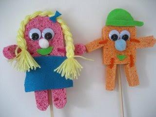 Sponge Bob and Sponge Bobette Puppets