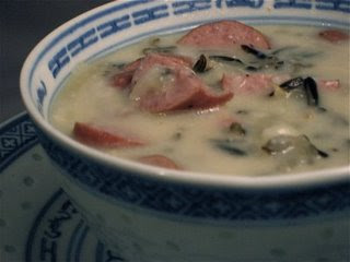Smoked Gouda Soup with Sausage and Wild Rice