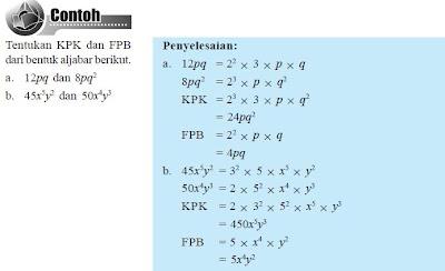 Contoh FPB dan KPK Aljabar