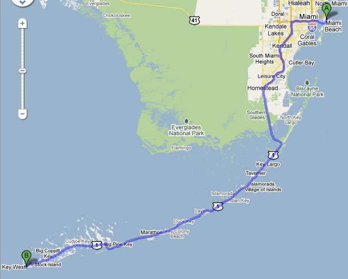 route miami key west