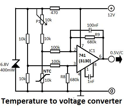 CIRCUIT: Temperature to Voltage Converter