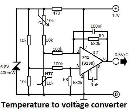 CIRCUIT: Temperature to Voltage Converter