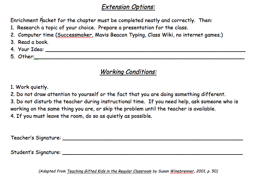 student teacher contract template - for the love of teaching using contracts to extend learning