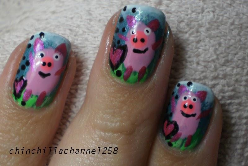 CookingChinchillas: Piggy Pig Pig Nail Art Design