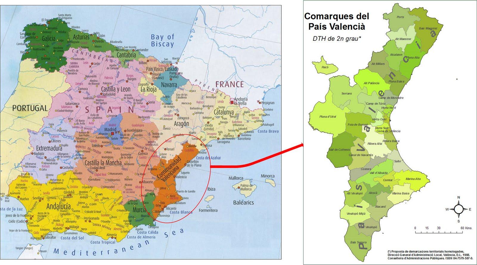 Valencia Map Of Spain.Map Of Spain Valencia Region Twitterleesclub