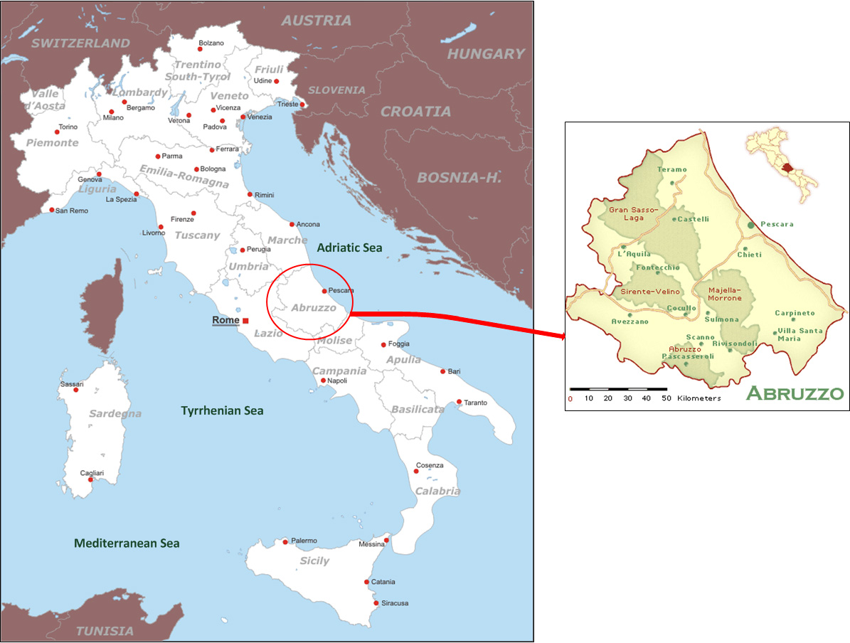 Map Of Italy Abruzzo Region.International Study Of Re Regions Regione Of Abruzzo Italy