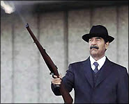 Saddam shoots shotgun from balcony as always