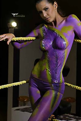 Purple sexy painted girls hot