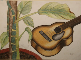 This Is Another Drawing Explored With Colour Pencils Organic Object A Pot Of Plant And Man Made Onject Guitar Were My