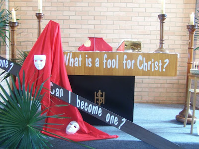 The altar at St Thomas' at Upper Ferntree Gully, Australia on Palm Sunday