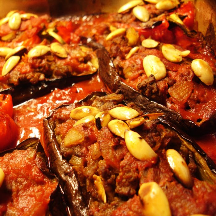 libyan food Baked Aubergine and Bell Pepper Stuffed with