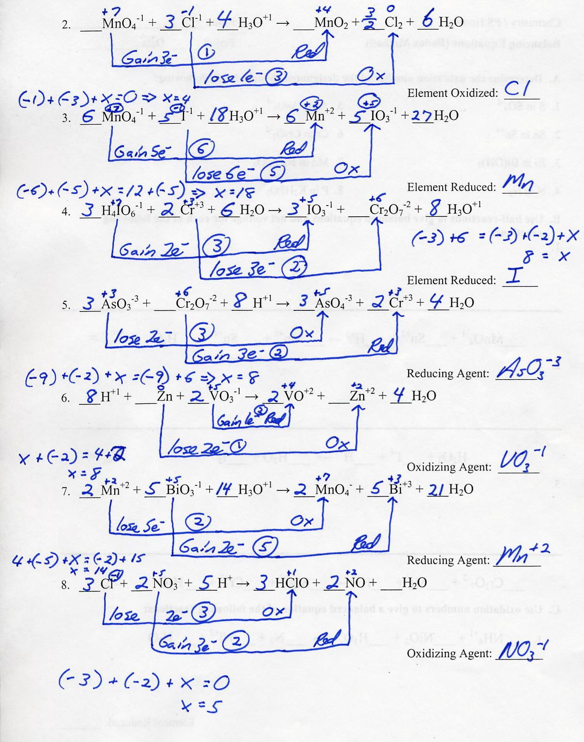 Worksheet Balancing Redox Equations Worksheet Grass