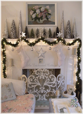 An Enchanted Cottage Winter White Silver And Green For
