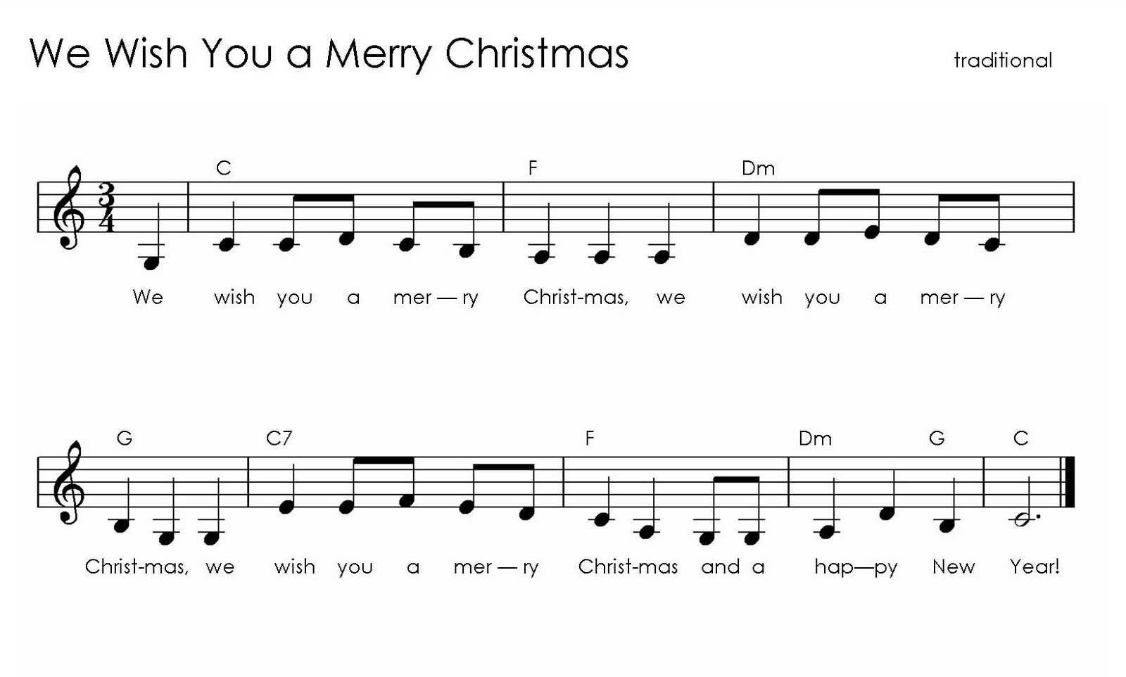 Wish You Merry Christmas Piano Notes.Music For Special Kids We Wish You A Merry Christmas On
