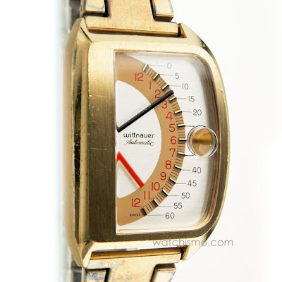 Rare Recovered Retrograde Wristwatches - Two 1972 Wittnauer Sector Futurama 1000