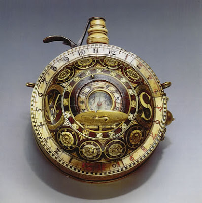 16th Century Gun Powder Flask-Sundial Compass Watch